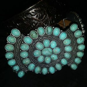 Accessories - Authentic Turquoise and Brown leather Belt